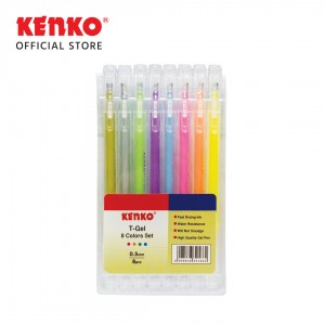 GEL PEN KE-303 (T-Gel /Triangular) Mix 8 Colors (One Card)