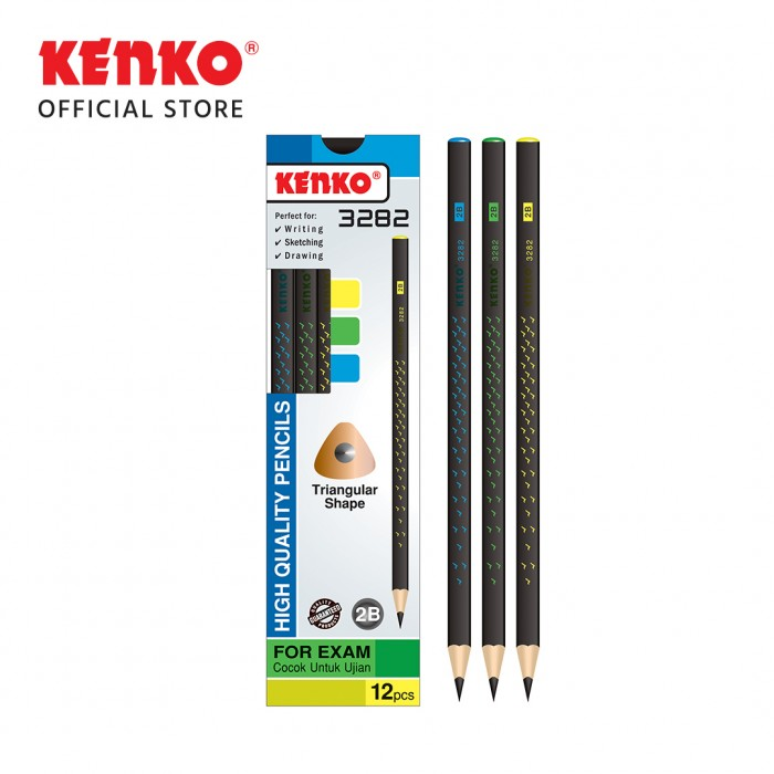 PENCIL 2B-3282 Triangular Hitam Bintang Mix Color 3 PCS