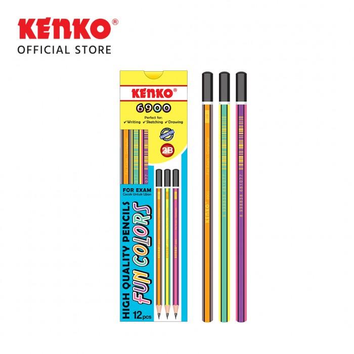 PENCIL 2B-6900 Fun Colors Mix Color 3 PCS