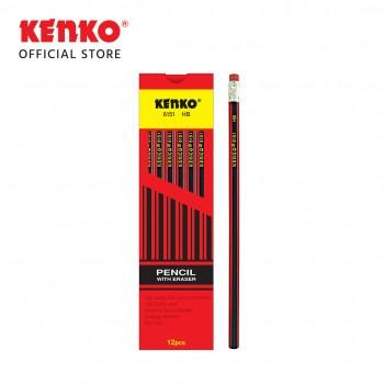 PENCIL HB-6151  Merah-Hitam + Eraser 2 PCS