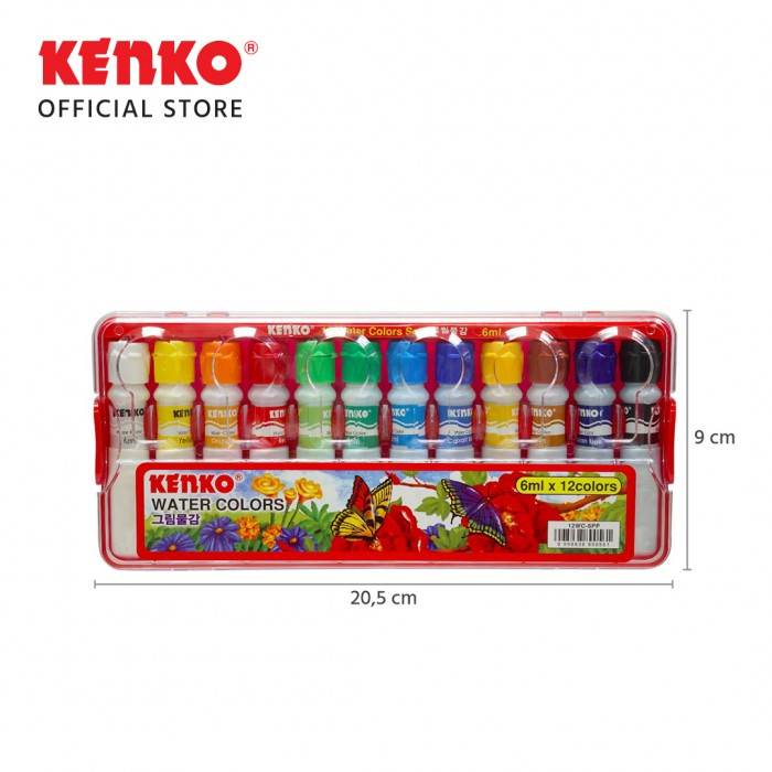 12 WATER COLORS 6Ml PP Case