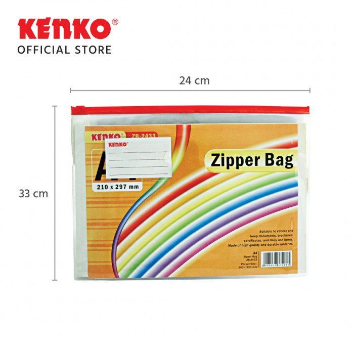 PVC ZIPPER BAG ZB-2433 A4